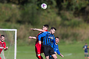 22nd September 2018, Dundee Saturday Morning Football League premier division at Drumgeith - Stobswell (blue and black) v Fintry Athletic (red and black)