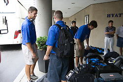 28 May 2007: Duke Blue Devils load onto the bus departing the Hyatt for M&T Bank Stadium before playing Johns Hopkins for the NCAA national championship in Baltimore, MD.