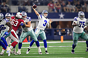 ARLINGTON, TX - AUGUST 26:  Mike White #3 of the Dallas Cowboy throws a pass during a game against the Arizona Cardinals at AT&T Stadium during week 3 of the preseason on August 26, 2018 in Arlington, Texas.  The Cardinals defeated the Cowboys 27-3.  (Photo by Wesley Hitt/Getty Images) *** Local Caption *** Mike White