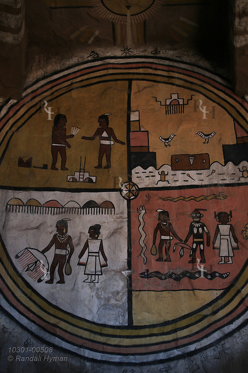 Mural by Second Mesa artist Fred Kabotie inside Mary Colter's 1932 Watchtower represent physical and spiritual origins of Hopi life; South Rim of Grand Canyon National Park, Arizona.