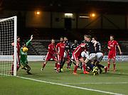 8th December 2017, Dens Park, Dundee, Scotland; Scottish Premier League football, Dundee versus Aberdeen; Aberdeen'keeper Joe Lewis tips Dundee's Sofien Moussa's header around the post
