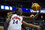 Team USA center Tina Charles grabs a rebound during the 2012 USA Women's Basketball Team versus Brazil at Verizon Center in Washington, DC.  July 16, 2012  (Photo by Mark W. Sutton)