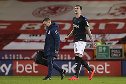 February 13, 2019 - Sheffield, South Yorkshire, United Kingdom - SHEFFIELD, UK 13TH FEBRUARY   Aden Flint of Middlesbrough leaves the field injured during the Sky Bet Championship match between Sheffield United and Middlesbrough at Bramall Lane, Sheffield on Wednesday 13th February 2019. (Credit: Mark Fletcher | MI News) (Credit Image: © Mi News/NurPhoto via ZUMA Press)