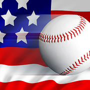 A moving baseball ball against the stars and stripes flag of America to portray baseball and sports in the USA.