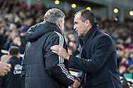 Sam Allardyce Manager of West Ham United and Roberto Martinez, Manager of Everton, during the FA Cup match at the Boleyn Ground, London<br /> Picture by David Horn/Focus Images Ltd +44 7545 970036<br /> 13/01/2015