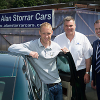 Steven Anderson Testimonial...12.06.14<br /> St Johnstone's Steven Anderson pictured with Alan Storrar of Alan Storrar Cars who are the shirt sponsors for Steven's testimonial game, also pictured is Dave Ritchie Chairman of the testimonial committee.<br /> Picture by Graeme Hart.<br /> Copyright Perthshire Picture Agency<br /> Tel: 01738 623350  Mobile: 07990 594431