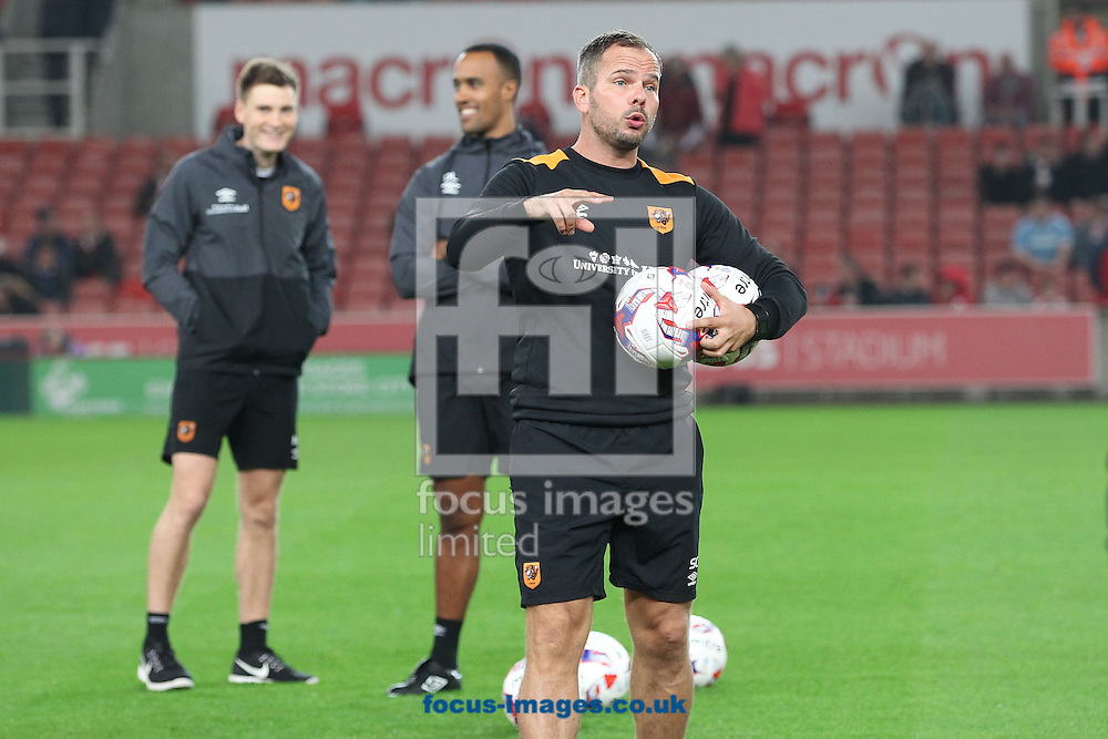 Hull City coach Stephen Clemence warms the players prior to the EFL Cup match against Stoke City at the Bet 365 Stadium, Stoke-on-Trent.<br /> Picture by Michael Sedgwick/Focus Images Ltd +44 7900 363072<br /> 21/09/2016
