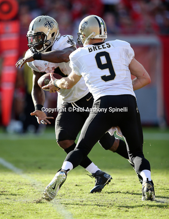 New Orleans Saints quarterback Drew Brees (9) hands off the ball to New Orleans Saints running back Tim Hightower (34) during the 2015 week 14 regular season NFL football game against the Tampa Bay Buccaneers on Sunday, Dec. 13, 2015 in Tampa, Fla. The Saints won the game 24-17. (©Paul Anthony Spinelli)