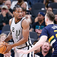 02 April 2017: Utah Jazz forward Gordon Hayward (20) defends on San Antonio Spurs forward Kawhi Leonard (2) during the San Antonio Spurs 109-103 victory over the Utah Jazz, at the AT&T Center, San Antonio, Texas, USA.