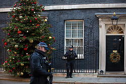 London, UK. 2 December, 2019. A armed police officer passes in front of a Christmas tree from Dartmoor outside 10 Downing Street. It was supplied by family business Dartmoor Christmas Trees after they won the Champion Grower prize in an annual competition.