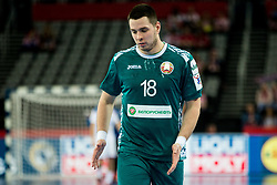 Artur Karvatski of Belarus during handball match between National teams of Serbia and Belarus on Day 7 in Main Round of Men's EHF EURO 2018, on January 24, 2018 in Arena Zagreb, Zagreb, Croatia.  Photo by Vid Ponikvar / Sportida