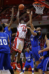 03 January 2009: Dinma Odiakosa takes the ball up strong in the lane against Justin Carter and Kenny Lawson. The Illinois State University Redbirds extended their record to 14-0 with a 86-64 win over the Creighton Bluejays on Doug Collins Court inside Redbird Arena on the campus of Illinois State University in Normal Illinois