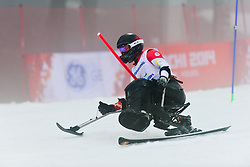 Josh DUECK competing in the Alpine Skiing Super Combined Slalom at the 2014 Sochi Winter Paralympic Games, Russia
