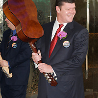 MACAU, CHINA - JUNE 01:  Businessmen James Packer prepares to smash a Spanish guitar during the Hard Rock Hotel opening ceremony, as part of the acts of the opening of his and Lawrence Ho's 'City of Dreams' casino on June 1, 2009 in Cotai, Macau. The new 420,000 square foot casino, built on marshland 9km from Macao's traditional casino district but over the road from the world's largest casino 'Sands Venetian Macao', hopes to lure customers to the new casino area. 'City of Dreams' will offer over 500 gambling tables alongside its 3 hotels, a shopping mall and digital fish which swim in an electronic aquarium know as 'The Bubble'.  Photo by Victor Fraile / studioEAST