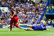 Neil Taylor of Swansea City puts in a cross that leads to the opening goal by Swansea City against Chelsea during the Barclays Premier League match at Stamford Bridge, London<br /> Picture by David Horn/Focus Images Ltd +44 7545 970036<br /> 13/09/2014
