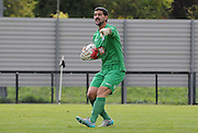 Julian Speroni points out orders during the U21 Professional Development League match between Crystal Palace U21s and Huddersfield U21s at Imperial Fields, Tooting, United Kingdom on 7 September 2015. Photo by Michael Hulf.