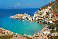 Europe, Grece, Mer Egée, Cyclades, île de Milos, Firopotamos port et village // Firopotamos, port and village, Milos Island, Cyclades Islands, Greek Islands, Aegean Sea, Greece, Europe