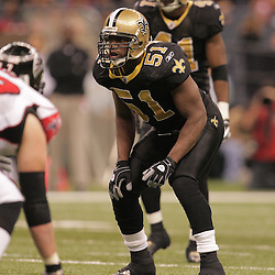 2008 December, 07: New Orleans Saints linebacker Jonathan Vilma (51) looks over the Falcons offense during a 29-25 victory by the New Orleans Saints over NFC South divisional rivals the Atlanta Falcons at the Louisiana Superdome in New Orleans, LA.