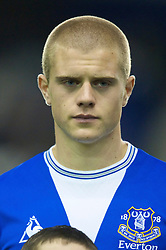 LIVERPOOL, ENGLAND - Thursday, December 17, 2009: Everton's Jake Bidwell lines-up before the UEFA Europa League Group I match against FC BATE Borisov at Goodison Park. (Pic by David Rawcliffe/Propaganda)