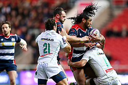 Thretton Palamo of Bristol Rugby is tackled by Julien Fumat of Pau - Rogan Thomson/JMP - 11/12/2016 - RUGBY UNION - Ashton Gate Stadium - Bristol, England - Bristol Rugby v Pau - European Rugby Challenge Cup.