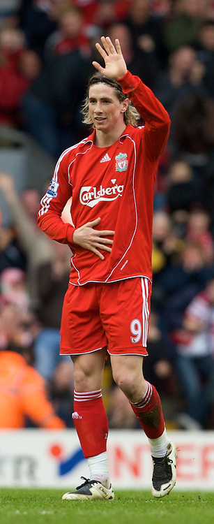 LIVERPOOL, ENGLAND - Saturday, February 23, 2008: Liverpool's Fernando Torres celebrates scoring the equaliser against Midlesbrough during the Premiership match at Anfield. (Photo by David Rawcliffe/Propaganda)