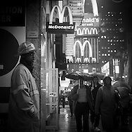 New York  Times square area under the rain , Traffic police.