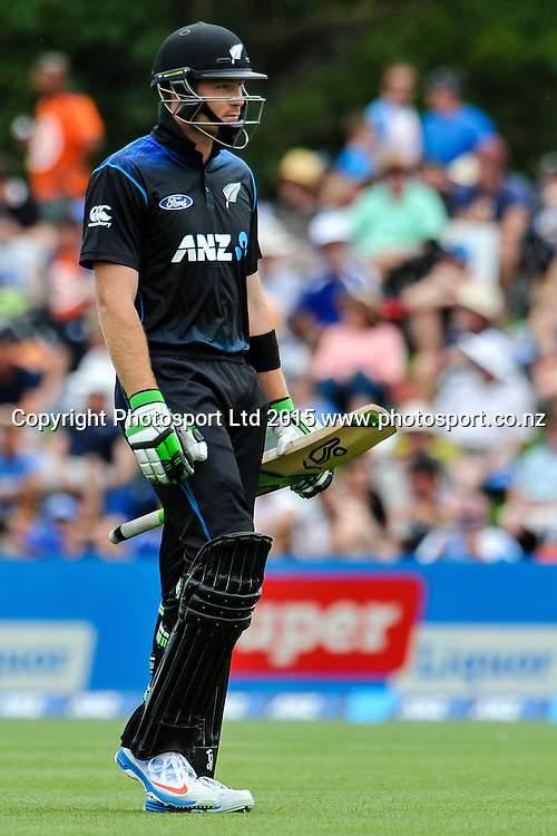 Martin Guptill of the Black Caps walks off for a duck in the first ODI, Black Caps v Sri Lanka, at Hagley Oval, Christchurch, 11 January 2015. Photo:John Davidson/www.photosport.co.nz