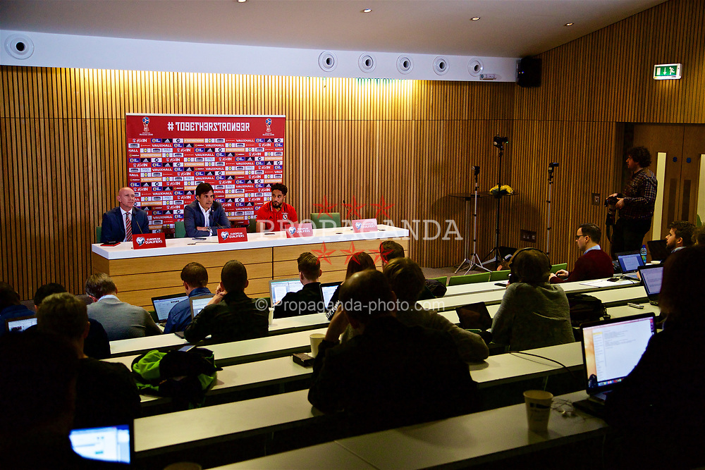 DUBLIN, REPUBLIC OF IRELAND - Thursday, March 23, 2017: Wales' head of pubic affairs Ian Gwyn Hughes, manager Chris Coleman and captain Ashley Williams during a press conference at the Aviva Stadium ahead of the 2018 FIFA World Cup Qualifying Group D match against Republic of Ireland. (Pic by David Rawcliffe/Propaganda)