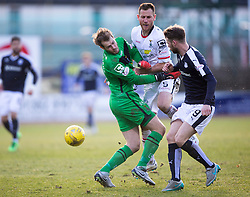 Inverness Caledonian Thistle's keeper Owain Fon-Williams and Inverness Caledonian Thistle's Gary Warren collide. <br /> Dundee 1 v 1 Inverness Caledonian Thistle, SPFL Ladbrokes Premiership game played at Dens Park, 27/2/2016.