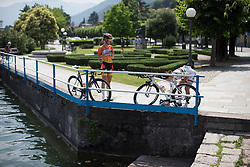 Amalie Dideriksen (DEN) and Lizzie Armitstead (GBR) of Boels-Dolmans Cycling Team consider for a moment to take a dip in the lake after the Giro Rosa 2016 - Stage 4. A 98.6 km road race from Costa Volpino to Lovere, Italy on July 5th 2016.