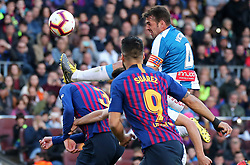 March 30, 2019 - Barcelona, Catalonia, Spain - Gerard Pique, Victor Sanchez and Luis Suarez  during the match between FC Barcelona and RCD Espanyol, corresponding to the week 29 of the Liga Santander, played at the Camp Nou Stadium, on 30th March 2019, in Barcelona, Spain. (Credit Image: © Joan Valls/NurPhoto via ZUMA Press)
