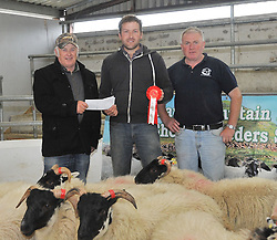 Mayo Blackface Sheep breeders Group sale 1st place Ewe Lamb Blackface type from left Pat Fitzgerald, Bryan Barber 1st and Patrick Sweeney Mayo Blackface Breeders group. Pic Conor McKeown