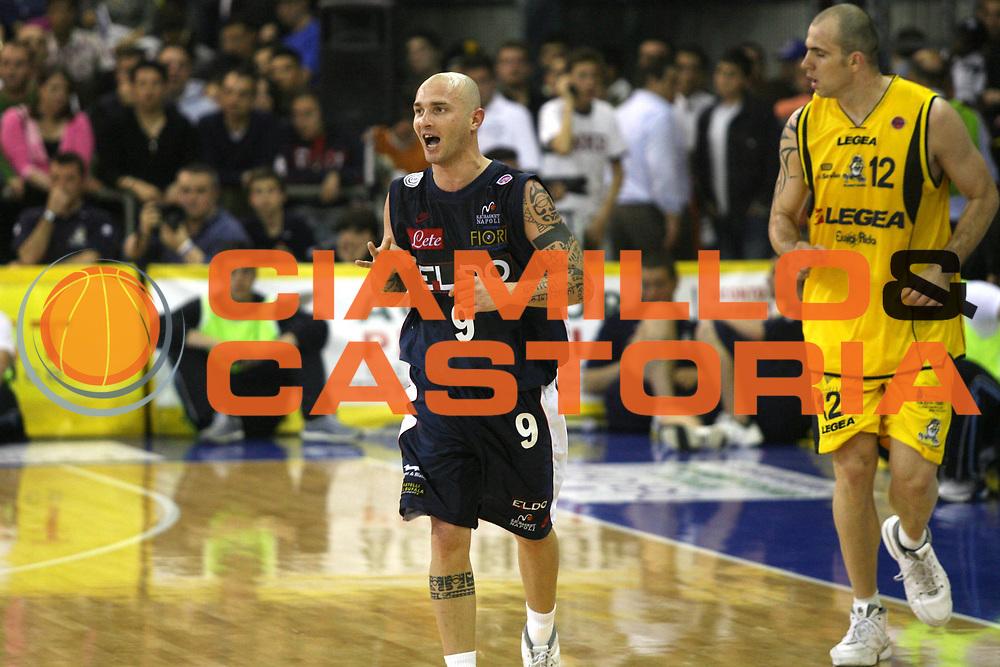 DESCRIZIONE : Scafati Lega A1 2006-07 Legea Scafati Eldo Napoli <br /> GIOCATORE : Spinelli <br /> SQUADRA : Eldo Napoli <br /> EVENTO : Campionato Lega A1 2006-2007 <br /> GARA : Legea Scafati Eldo Napoli <br /> DATA : 15/04/2007 <br /> CATEGORIA : Esultanza <br /> SPORT : Pallacanestro <br /> AUTORE : Agenzia Ciamillo-Castoria/G.Ciamillo