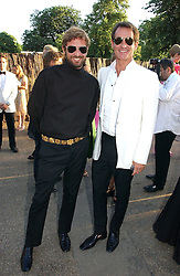 Left to right, STEFANO PILATI and TIM JEFFERIES at the Serpentine Gallery Summer party sponsored by Yves Saint Laurent held at the Serpentine Gallery, Kensington Gardens, London W2 on 11th July 2006.<br />