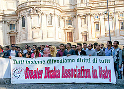 October 7, 2018 - Rome, Italy - Demonstration of the Bengali community in Rome to ask ''at least one animal stay'' as it was written on the long banner in the square, ''in the absence of a humanitarian stay''. ''Men treated as Animals'' was the object of the open letter-flyer addressed to both citizens and institutions in which the demonstrators explained how immigrants live on Italian soil. ''Permit of stay for all'' the first password shouted in the square. (Credit Image: © Patrizia Cortellessa/Pacific Press via ZUMA Wire)
