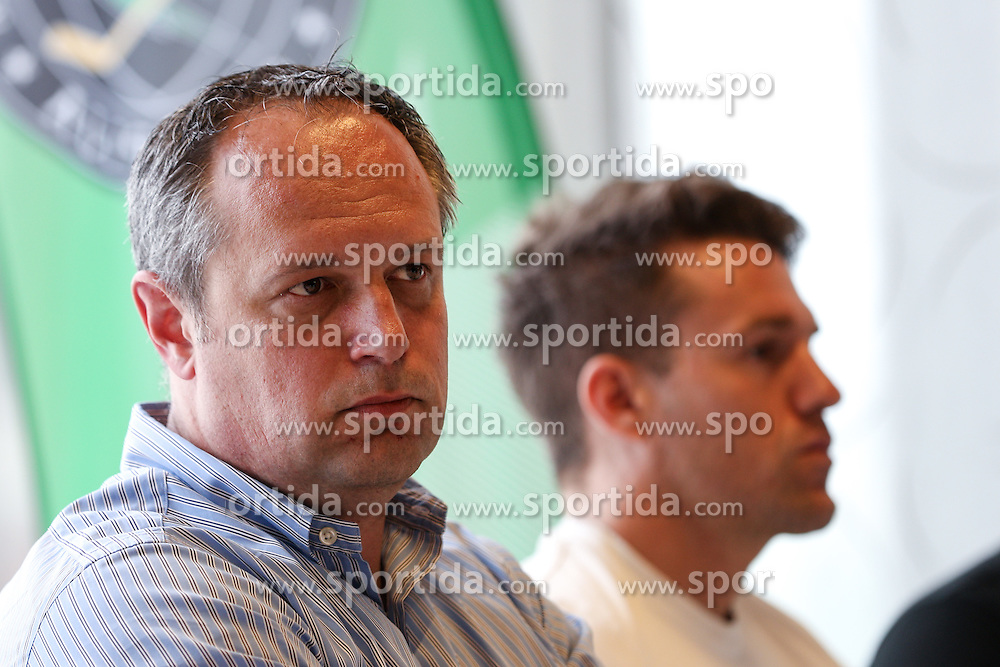 Marko Popovic and Anze Ropret at press conference of ice-hockey team HDD Olimpija Ljubljana on June 23, 2016 in DiVino, Ljubljana, Slovenia. Photo by Matic Klansek Velej / Sportida