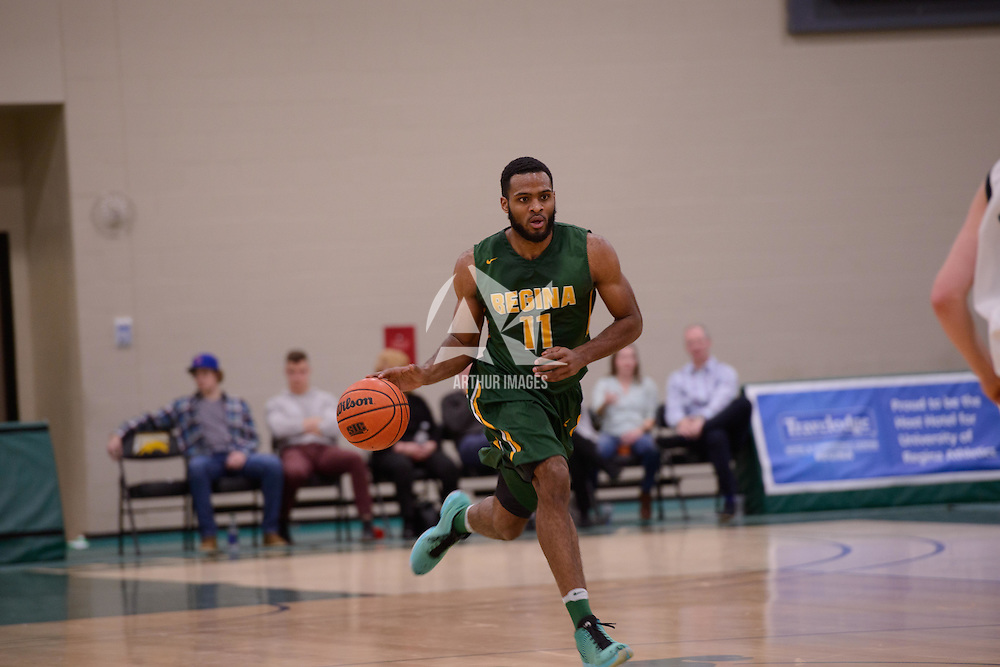 4th year forward Brian Ofori (11) of the Regina Cougars in action during the home game on December  3 at Centre for Kinesiology, Health and Sport. Credit: Matt Johnson/Arthur Images