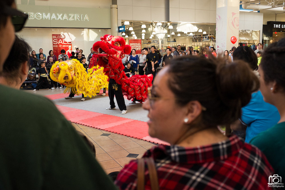 Spectators watch as KungFu Dragon USA students perform during the Lunar New Year Dragon dance at the Great Mall of the Bay Area in Milpitas, California, on February 21, 2015. (Stan Olszewski/SOSKIphoto)