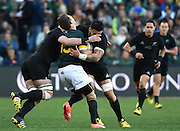 JOHANNESBURG, South Africa, 25 July 2015 : Willie le Roux of the Springboks meets the force of Liam Messam and Kieran Read of the All Blacks during the Castle Lager Rugby Championship test match between SOUTH AFRICA and NEW ZEALAND at Emirates Airline Park in Johannesburg, South Africa on 25 July 2015. Bokke 20 - 27 All Blacks<br /> <br /> © Anton de Villiers / SASPA