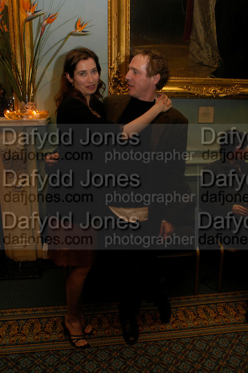 Emmanuelle Devos and Arnaud Desplechin.  The Renault French Film season 2005 Press launch. Institute of Directors. 116 Pall Mall. London Sw1. 31 March 2005. ONE TIME USE ONLY - DO NOT ARCHIVE  © Copyright Photograph by Dafydd Jones 66 Stockwell Park Rd. London SW9 0DA Tel 020 7733 0108 www.dafjones.com