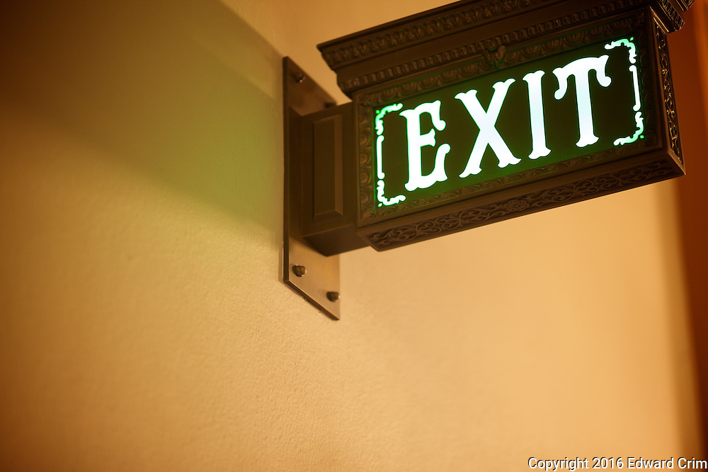 Exit sign by the grand stair of the Illinois capitol.