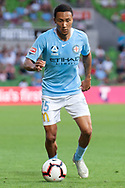 Melbourne City midfielder Kearyn Baccus (15) controls the ball at the Hyundai A-League Round 13 soccer match between Melbourne City FC and Brisbane Roar FC at AAMI Park in VIC, Australia 11th January 2019.