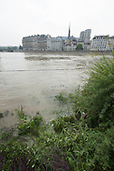 Paris . Flooding . The Seine river in Paris city center. quay of the Hotel de Ville