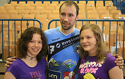 Vid Kavticnik of Slovenia with his fans after  handball game between men national teams of Slovenia and Slovakia, first qualification game for the World Chamionship 2009, on June 7, 2008, in Arena Zlatorog, Celje, Slovenija. Result: 33 : 33. (Photo by Vid Ponikvar / Sportal Images)