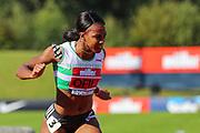 Cindy OFILI wins the Women's 100m Hurdles Final during the Muller British Athletics Championships at Alexander Stadium, Birmingham, United Kingdom on 24 August 2019.