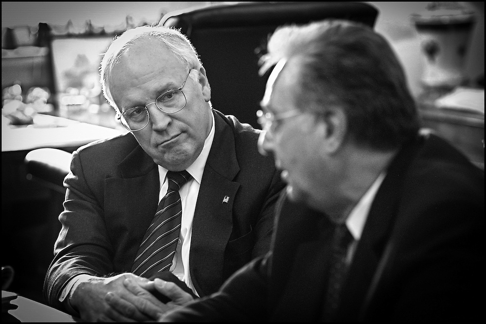 Vice President Dick Cheney listens to Rep. Dick Armey during a meeting in Speaker Hastert's office.  10/2/01..©PF BENTLEY/PFPIX.com