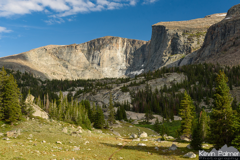 The dramatic walls of the Lost Twin Lakes stand tall above this alpine meadow.