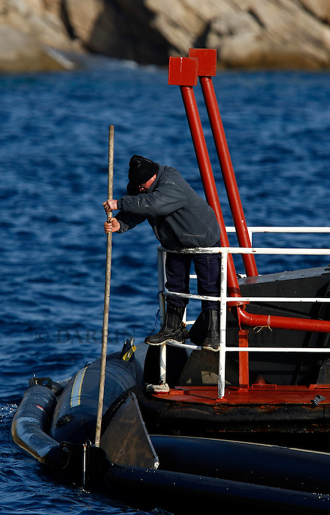 A salvage worker tries to retrieve debris from the cruise liner Costa Concordia stuck on an oil boom off the west coast of Italy at Giglio island January 30, 2012. Search operations at the Costa Concordia resumed on Monday after being suspended for a day due to weather conditions and some movement of the capsized cruise ship...REUTERS/Darrin Zammit Lupi (ITALY)