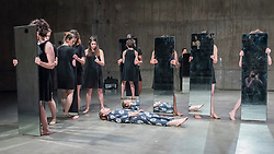 "© Licensed to London News Pictures. 13/03/2018. LONDON, UK. Performers present ""Mirror Piece II"", 1969/2018.  Preview of ""Joan Jonas"" at Tate Modern.  The exhibition is the largest survey of US contemporary performance artist Joan Jonas's work ever held in the UK.  The exhibition includes a gallery exhibition of video and installation works, a ten day live programme in The Tanks including performance by Jonas herself and runs 14 March to 5 August 2018.   Photo credit: Stephen Chung/LNP"