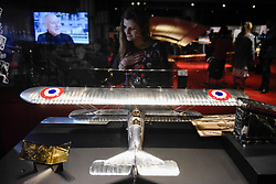 "© Licensed to London News Pictures. 23/05/2017. London, UK.   Replica of the Question Mark (Point D''Interrogation) aeroplane, 1933, at the press preview of ""Cartier in Motion"", an exhibition on Cartier,  co-curated by celebrated architect Lord Norman Foster and Design Museum director Deyan Sudjic, at the Design Museum in London.  The exhibition runs from 25 May to 28 July 2017. Photo credit : Stephen Chung/LNP"